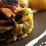 confit de poireau et poulet crémeux