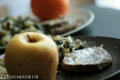 steak et blette fromage, pomme