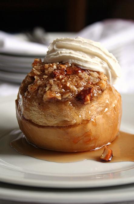 pomme caramélisée aux fruits secs cuite au four