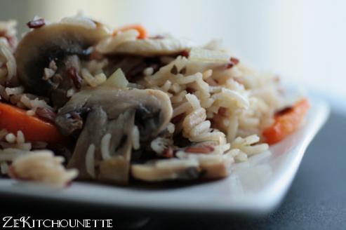 riz sauvage champignon, thym, carottes