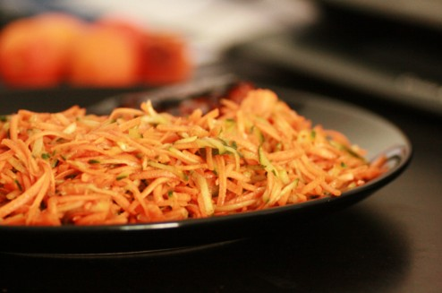 carottes et concombre râpés au miel