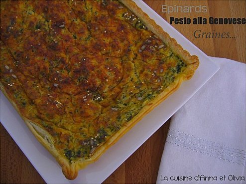 quiche épinards pesto