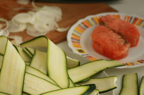 courgettes coupée, oignon coupé