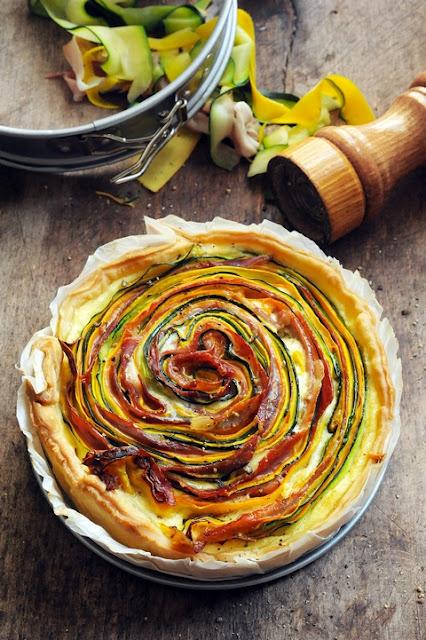 tarte multicolore aux légumes d'été