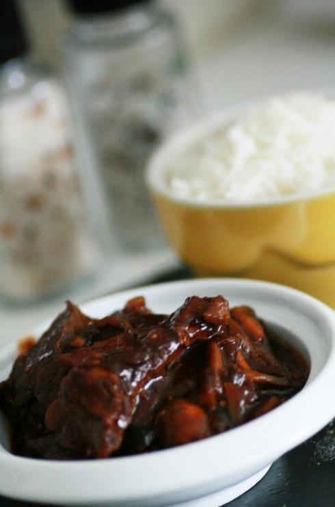 boeuf mariné champignons et riz
