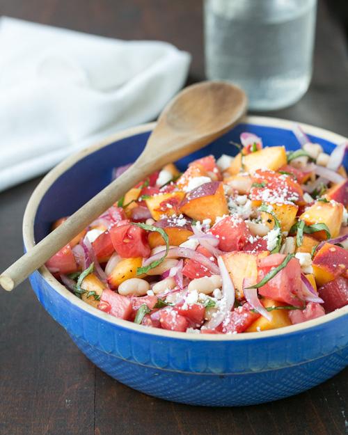 salade tomate pêche basilic