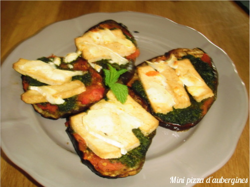 mini pizza d'aubergines