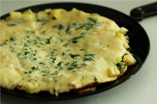 omelette dans l'assiette