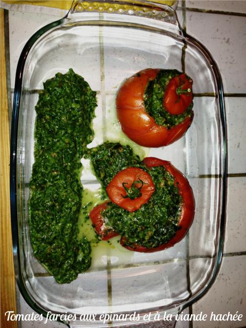 tomates farcies aux épinards et viande hachée