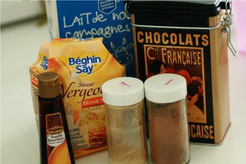 ingrédients pour chocolat citrouille