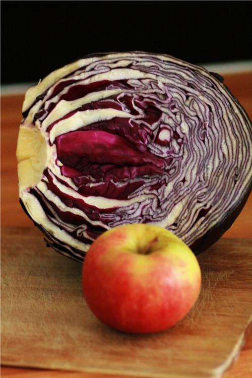 chou rouge et pomme
