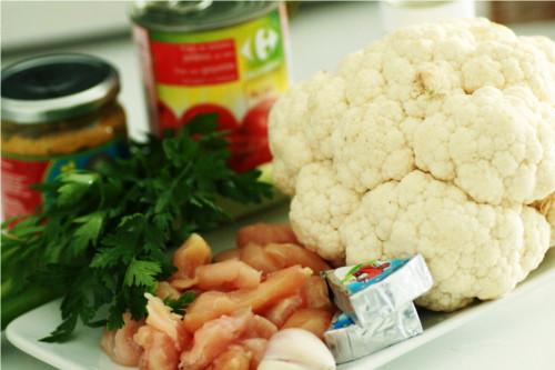 ingrédients pour curry poulet chou fleur