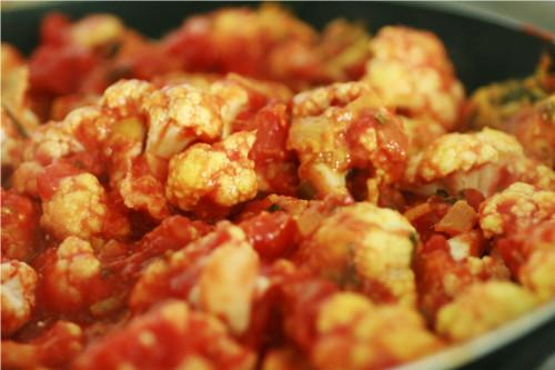curry sauce tomate poulet chou fleur