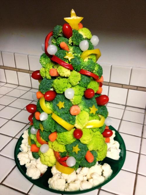 sapin de noel au brocoli - christmas tree vegan