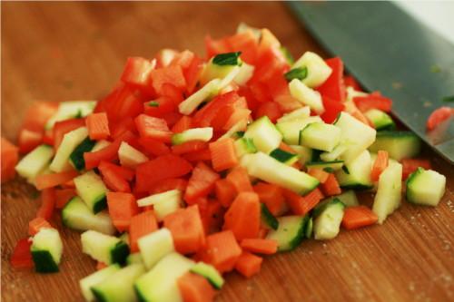 légumes coupés en dés