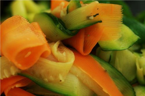 légumes coupés en lamelles