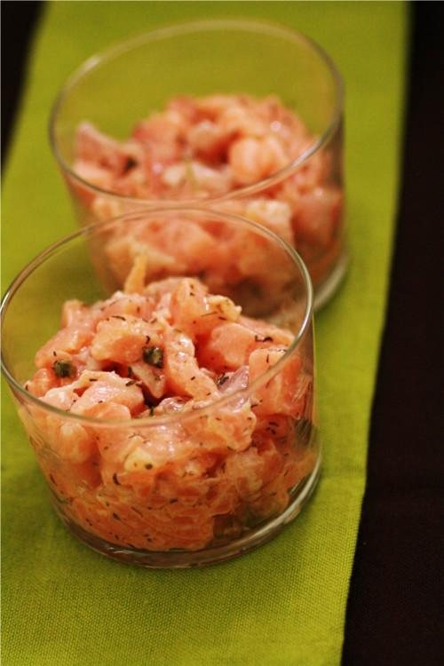 tatare de saumon au poivre vert