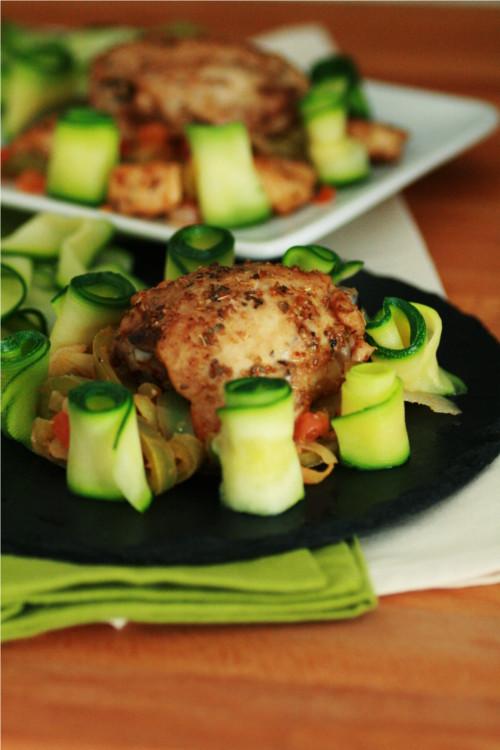 poulet épicé tagliatelles de courgettes