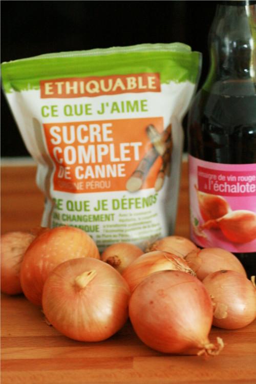 ingrédients confit d'oignons