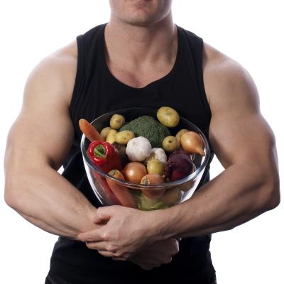 fruits et légumes gars musclé