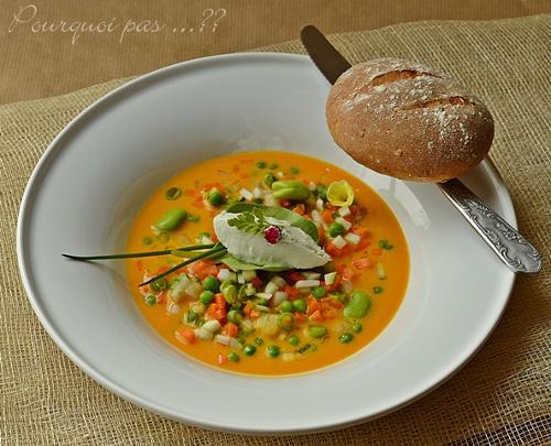 pain et creme de roquefort et petits légumes