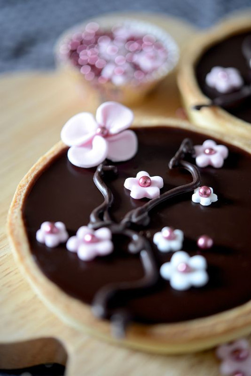 tarte chocolat fleur de cerisier