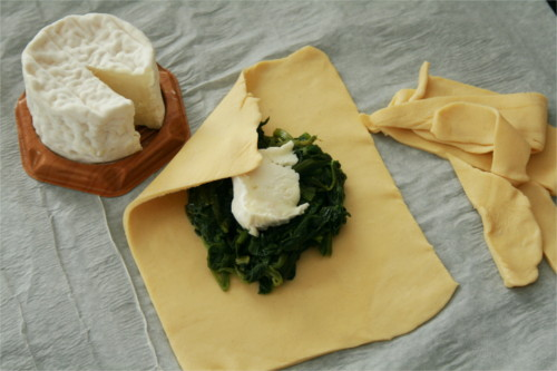 feuilletés épinards brebille en préparation fermés