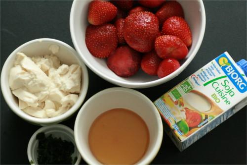 ingrédients mousse fraise coriandre
