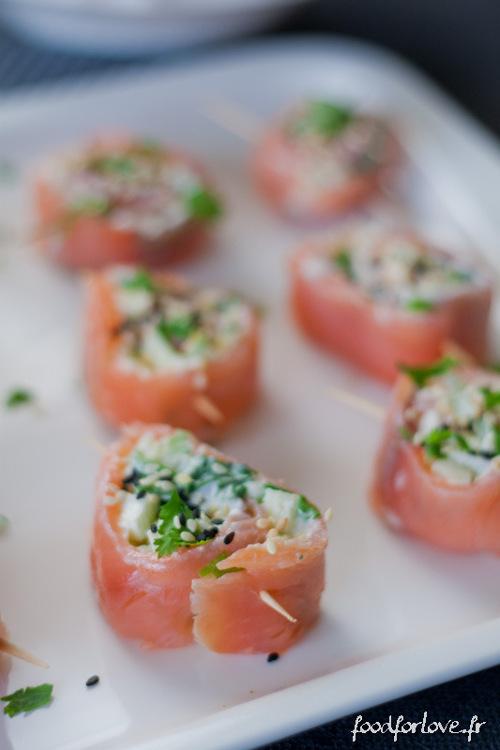 rouleaux saumon wasabi pomme fromage frais primal
