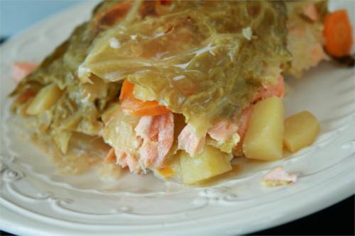 chou en lasagne saumon