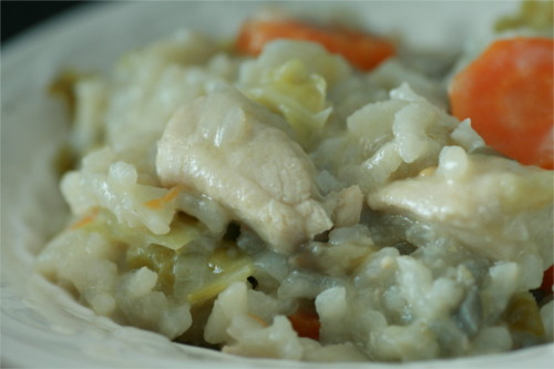 risotto aux légumes d'automne et poulet
