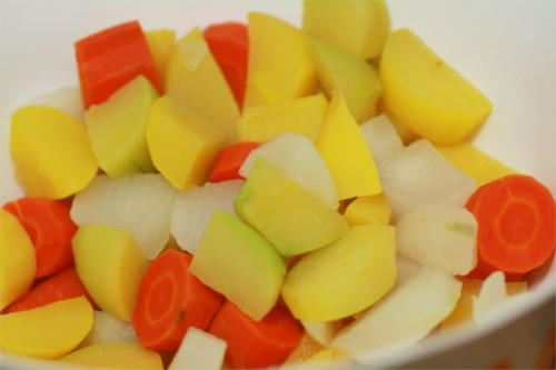 Légumes cuits pour beignets épicés