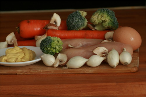 ingrédients cocotte de poulet carotte et brocoli