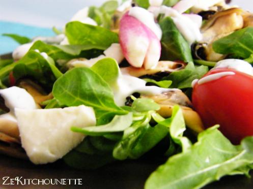 salade mesclun aux moules