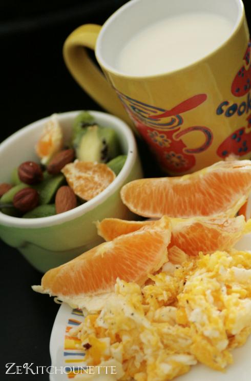petit déjeuner kiwi orange