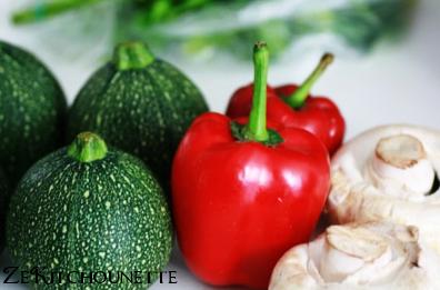 courgettes, poivrons et champignons farcis