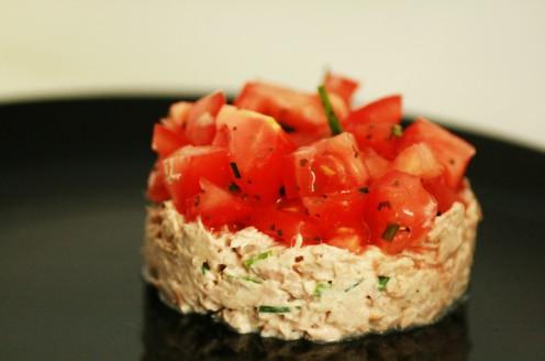 tartare de tomate et rillettes thon