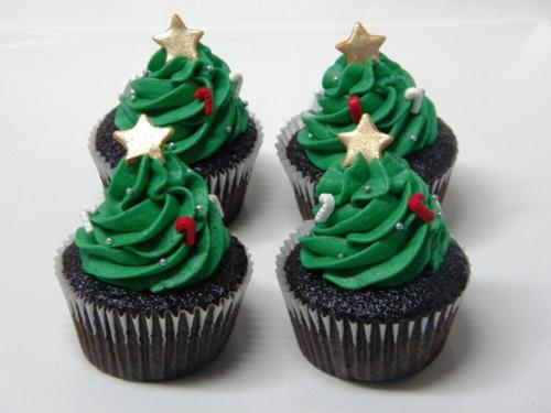 Christmas tree cupcake - sapin de noel cupcake
