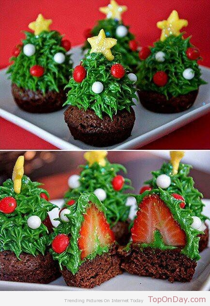 sapin brownies (christmas tree brownie strawberry) fraises