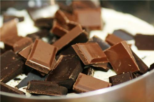 chocolats coupés en carrés
